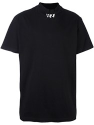 Off White Mock Neck T Shirt Black
