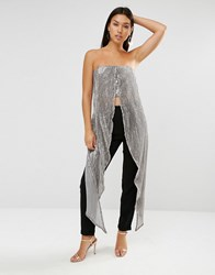 Lavish Alice Sequin Maxi Cape Crop Top Silver