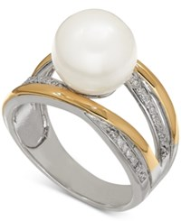 Macy's Freshwater Pearl 10Mm And Diamonds 1 10 Ct. T.W. Ring In Sterling Silver And 14K Gold