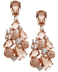 Kaleidoscope Pink Swarovski Crystal Mosaic Drop Earrings In 18K Rose Gold Over Sterling Silver