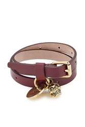 Alexander Mcqueen Wrap Around Leather Bracelet Red