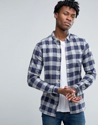 Pull And Bear Pullandbear Checked Shirt In Blue In Regular Fit Blue