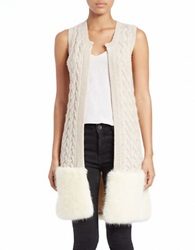 French Connection Faux Fur Trimmed Cable Knit Vest Classic Cream