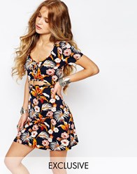 Reclaimed Vintage Cut Out Dress In Floral Print Multi