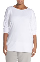 Plus Size Women's Eileen Fisher Boat Neck Knit Tunic White