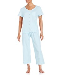 Karen Neuburger Printed Cotton Blend Pajama Set Blue Dot