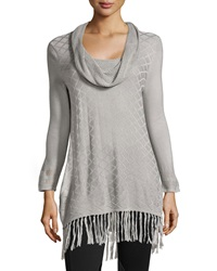 Neiman Marcus Diamond Pattern Stretch Knit Tunic Brushed Silver