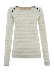 Maison Scotch Pullover Knitted Jumper With Button Detail Cream