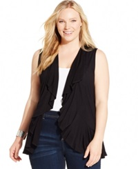Inc International Concepts Plus Size Draped Ruffle Trim Open Vest Deep Black