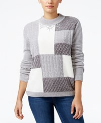 Alfred Dunner Petite Northern Lights Cable Knit Sweater Silver