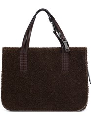 Chanel Vintage Woollen Shopping Tote Brown