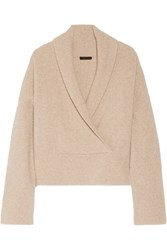 The Row Fontaine Wrap Effect Brushed Cashmere Blend Sweater Beige
