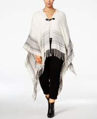 Love Squared Trendy Plus Size Hooded Poncho White Grey