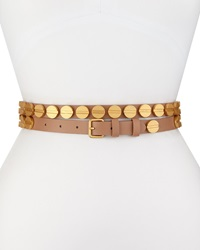 Haute Hippie Long And Winding Road Belt With Round Studs Suntan Matte Gold
