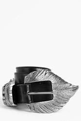 Boohoo Feather Buckle Belt Black