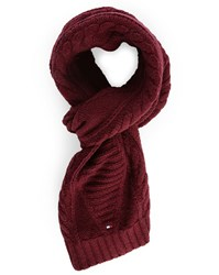 Tommy Hilfiger Burgundy Cable Knit Woollen Scarf