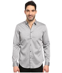 Calvin Klein Long Sleeve Twill Herringbone Button Down Shirt Silver Mist Men's Long Sleeve Button Up