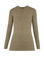 Atm Anthony Thomas Melillo Long Sleeved Ribbed Knit T Shirt Khaki