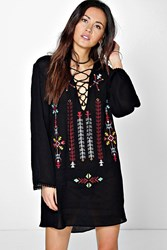 Boohoo Tribal Embroidered Lace Up Tunic Dress Black