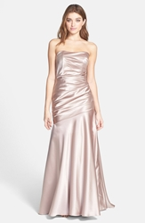 Dessy Collection Ruche Strapless Satin Gown Topaz