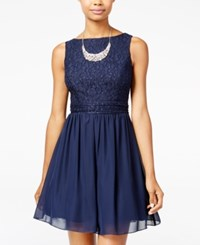 Speechless Juniors' Glitter Lace Party Dress A Macy's Exclusive New Navy
