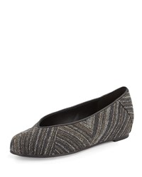 Quilt Striped Canvas Ballet Flat Black Eileen Fisher