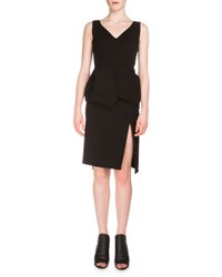 Balenciaga Sleeveless V Neck Peplum Dress Black Noir