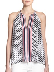 Joie Mahaut Striped Silk Tank Porcelain Dark Navy