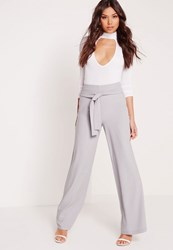 Missguided Premium Wide Leg Trousers Grey No