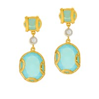 Alexandra Alberta Madison Blue Chalcedony Earrings Blue Gold