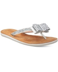 Kate Spade New York Icarda Glitter Bow Sandals Women's Shoes Silver