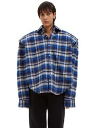 Vetements Football Shouldered Checked Flannel Shirt Blue