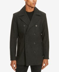 Kenneth Cole Reaction Men's Double Breasted Pea Coat Charcoal Combo