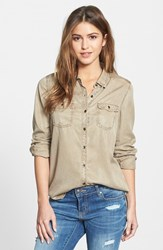 Petite Women's Halogen Long Sleeve Chambray Shirt Stone Fossil