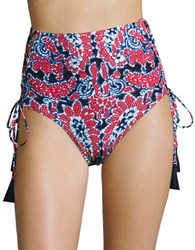 Michael Kors Angelina Lace Up High Waisted Swim Bottoms Red