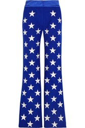 Gareth Pugh Embroidered Wool Blend Flared Pants Royal Blue
