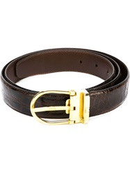 Celine Vintage Crocodile Leather Belt Brown
