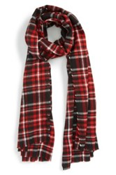 The Rail Double Face Plaid Woven Scarf Red