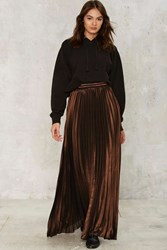 Element Of Surprise Pleated Maxi Skirt Bronze
