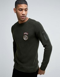 Jack And Jones Ribber Jumper With Military Patches Rosin Green