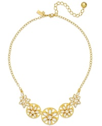 Kate Spade New York Gold Tone White Epoxy Bead Floral Necklace