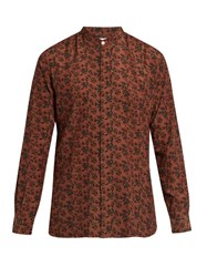 Paul Smith Floral Print Granddad Collar Shirt Brown Multi