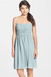 Donna Morgan Sarah Strapless Ruched Chiffon Dress Blue