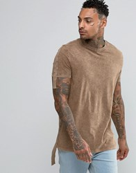 Asos Longline T Shirt With Acid Wash And Hanging Taping Brown