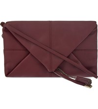 Maje Leather Envelope Clutch Bordeaux