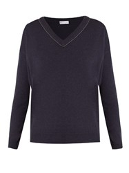 Brunello Cucinelli Monili Embellished V Neck Cashmere Sweater Navy