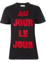 Au Jour Le Jour Sequinned Logo T Shirt Black