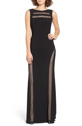 Morgan And Co. Women's Mesh Inset Gown