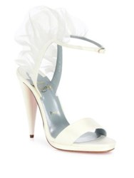 Christian Louboutin Jacqueline Leather And Silk Chiffon Ankle Strap Sandals White