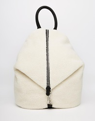 Asos Front Zip Backpack With Dog Clip In Faux Shearling Natural